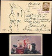P0387 - DR GG Polen Propaganda Postkarte Neujahr: Gebraucht Notstempel Jaroslau - Berlin 1939 , Bedarfserhaltung. - Alemania