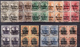 OC10  à 19 Oblitérés En Blocs De 4 - Weltkrieg 1914-18