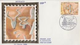 Enveloppe  FDC  1er   Jour    MONACO    Parc  Du  Mercantour   Gravures  Rupestres    1989 - Préhistoire