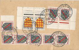 CARTE POSTALE 1955 AVEC 10 TIMBRES TYPES BLASONS - 1921-1960: Moderne