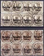OC10 Et 11 Oblitérés En Bloc De 8 - Weltkrieg 1914-18