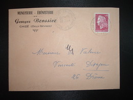 LETTRE TP M. DE CHEFFER 0,40 OBL.2-1 1970 79 CHIZE ANNEXE 1 DEUX-SEVRES + Georges BROSSIER MENUISERIE EBENISTERIE - Handstempels