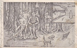 AK Deutsche Soldaten Bei Entlausung - Künstlerkarte Kriegsschauplatz  Feldpost Res. Feldartl. Regt. No. 7 - 1915 (45442) - Weltkrieg 1914-18