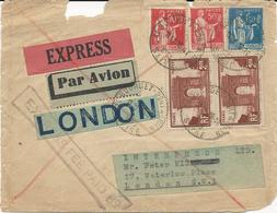 DEVANT DE LETTRE PAR EXPRESS POUR LA GRANDE BRETAGNE AVEC 5 TIMBRES TYPES PAIX/ARC DE TRIOMPHE - 1921-1960: Moderne