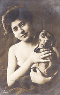 Dog. Les Chiens. Girl With A Dachshund.Teckel Dackel - Cani