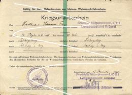1940 Flak Regiment 41 Urlaubsschein  Luftgaupostamt Brüssel Belgien, - 1939-45