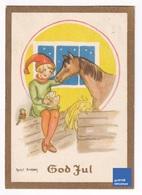 Joyeux Noël 1942 Petite Carte Suède Illustrateur Margit Broberg Bonnet Lutin écurie Cheval équitation God Jul A31-46 - Altri