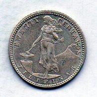 PHILIPPINES - UNITED STATES OF AMERICA, 20 Centavos, Silver, Year 1907, KM #170 - Filippine