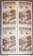 Errors Romania 1947, Mi 1079, Block X4, With Point Color At Cable, Mnh - Variedades Y Curiosidades