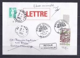 TP N°2818+DIVERS  SUR  LETTRE DE 34.MINERVE/17.7.93/1° JOUR Signé Par Le Créateur P. LUBIN - Marcophilie (Lettres)