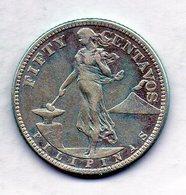 PHILIPPINES - UNITED STATES OF AMERICA, 50 Centavos, Silver, Year 1919, KM #171 - Filippine