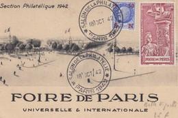 CARTE POSTALE. 18 OCT 1942. SALON DE LA PHILATELIE FOIRE DE PARIS BELLE VIGNETTE - Marcophilie (Lettres)
