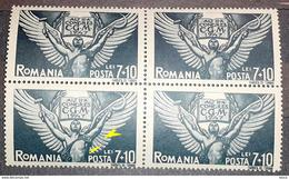 Errors Romania 1947, Mi 1091 Block X4, With Shadow Line Vertical On Wing , Mnh - Variedades Y Curiosidades