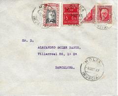 Molina De Segura (Murcia) A Barcelona 1937, Carta Con Locales, Benéfico Y Bisectado. Guerre D'Espagne - Emissions Républicaines