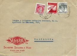 Vall De Uxó (Castellón) A Barcelona 1937, Carta Con Locales. Guerre D'Espagne - Republikeinse Uitgaven