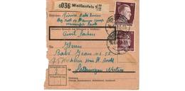 ALLEMAGNE  /  COLIS-POSTAL  /  De Weissenfels / Pour Kochern ( Cocheren )  / 16-6-43 - Germany