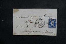 FRANCE - Enveloppe De Paris Pour Lyon En 1858, Affranchissement Napoléon , Oblitération Losange E - L 48972 - 1849-1876: Periodo Clásico