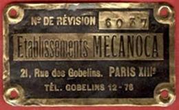 ** PLAQUE  ETS.  MECANOCA  -  PARIS  XIII ** - France