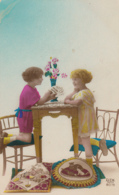 BN59. Vintage French Tinted Postcard. Two Girls Playing Cards. - Children And Family Groups