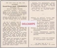 DOODSPRENTJE VERMEERSCH GERARD WEDUWNAAR TANGHE KORTRIJK 1894 - 1957 VUURKRUISER 1914 - 1918  Anti-kopie - Images Religieuses
