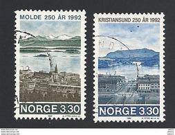 Norwegen, 1992, Mi.-Nr. 1098-1099, Gestempelt - Gebraucht