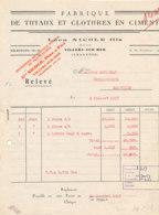 FA 1519   FACTURE - FABRIQUE DE TUYAUX ET CLOTURES EN CIMENT  LEON NICOLE FILS      VILLERS SUR MER   CALVADOS (1957) - Sin Clasificación