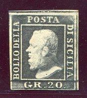 1859- SICILIA- 20 GR.VIOLETTO ARDESIA SCURO - M.N.H./ M.L.H.- LUXE !! - Sicilia