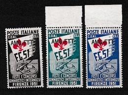 1951 Italia Italy Trieste A GIOCHI GINNICI GAMES Serie Di 3v. MNH** - Mint/hinged