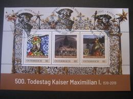 Österreich- Pers.BM Block 500. Todestag Kaiser Maximilian I. Mit Allen 3 Sonderstempeln Wr. Neustadt, Innsbruck, Wels - Personalisierte Briefmarken