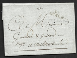 1797 LAC - 31 AUSCH (AUCH) 24mm GERS - A TOULOUSE - Marcophilie (Lettres)