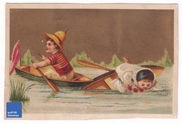 Chromo Dorée 1900s Sans Publicité Thème Canoe Barque Canotage Pierrot French Victorian Trade Card Rowing  A31-54 - Cromos