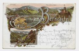 Gruß Aus  Berncastel  1896y. Lihtografie    D254 - Bernkastel-Kues