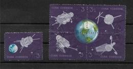 THEME ESPACE / CUBA 1964 : 5 T. Oblitérés (dont Un Bloc De 4) Incomplet Manque 1ère Vignette Avec 1964 - Amérique Du Nord