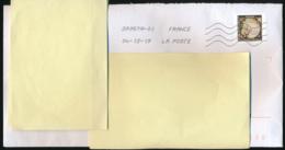 """2019 : Timbre Postal Adhésif """"Assiette , Production Creil Et Montereau"""" Seul Sur Lettre - Marcophilie (Lettres)"""