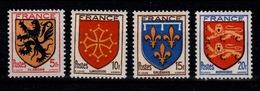 YV 602 à 605 N** MNH, 2eme Armoirie De Province Complète Cote 3,20 Euros - France