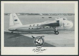 Ansichtskarte LTU Flugzeug Bristol 170 Mit Der Kennung D-AH0I, LTU 50 Jahre Wohl Fühlen, Karte Ist Nicht Gelaufen - Flugzeuge