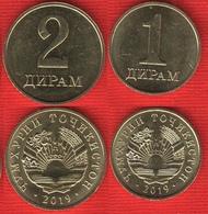 Tajikistan Set Of 2 Coins: 1 - 2 Diram 2019 UNC - Takiyistán
