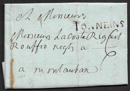 1787 - LAC - TONNEINS 46mm A MONTAUBAN - Marcophilie (Lettres)