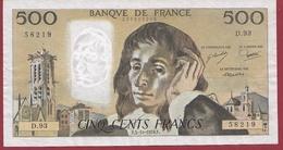 """500 Francs """"Pascal"""" Du 05/10/1978.F----F/TTB+---ALPH.D.93 - 1962-1997 ''Francs''"""