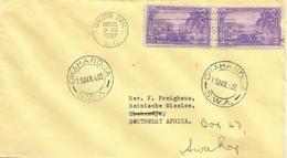 USA 1937 Charlotte Amalie FDC Cover To Okahandja Swakopmund SWA Namibia - 1851-1940