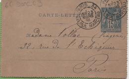 Entier Type SAGE 15c Bleu 90-CL9 Paris-34 à Paris 23/03/1891 - Letter Cards