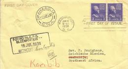 USA 1938 Washington DC President Thomas Jefferson FDC Cover To Okahandja Karibib SWA Namibia Via Bloemfontein - 1851-1940