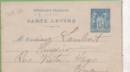 Entier Type SAGE 15c Bleu 90-CL17 Date 009 Pour BAYONNE - Letter Cards