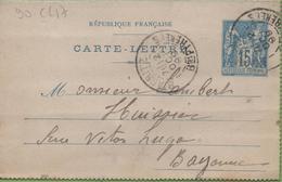Entier Type SAGE 15c Bleu 90-CL17 Date 850 BIARRITZ à  BAYONNE 2/10/1899 - Letter Cards