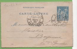 Entier Type SAGE 15c Bleu 90-CL17 Date 014 PARIS-10 à  BAYONNE17/09/00 - Letter Cards