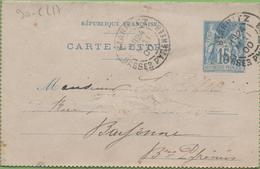 Entier Type SAGE 15c Bleu 90-CL17 Date 850 BIARRITZ à  BAYONNE 24/05/00 - Letter Cards