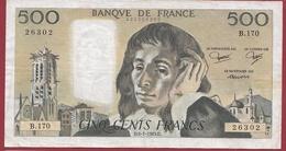"""500 Francs """"Pascal"""" Du 06/01/1983.D --F/TTB+---ALPH.B.170 - 1962-1997 ''Francs''"""