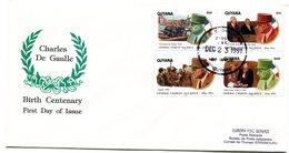 Thème Général De Gaulle - FDC Guyana Yvert 2488 à 2491 - R 5766 - De Gaulle (General)