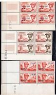 Algérie N° 272, 338 Et 345 (Général Leclerc) Neufs ** - Bloc De 4 Coin Daté - Algérie (1924-1962)