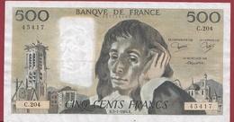 "500 Francs ""Pascal"" Du 05/01/1984.K --F/TTB+---ALPH.C.204 - 1962-1997 ''Francs''"
